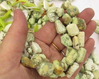 SALE 20% Off Natural Lemon Chrysoprase Beads, Faceted Nugget Beads, Yellow Green  Australian Gemstone