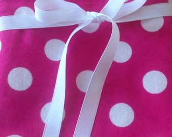 Large Pink and White Polkadot  Swaddler