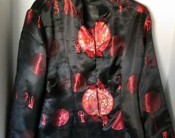 Chinese Jacket Black Red Vintage Satiny Look