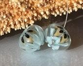 Handmade Lampwork Glass Beads SRA Duck Egg Blue Bloom Pair Encasement Florals (2)