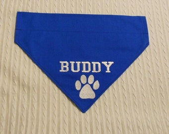 Personalized Dog Bandana with Paw Print S to XL in over the dog collar style