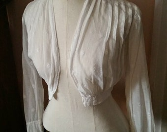 Edwardian Bolero Shrug White Cotton Top dotted weave designs Sm Size early 1900s