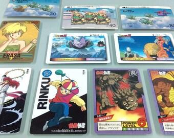 10 vintage anime cards (Yu Yu Hakusho, Dragon Ball, Gundam)