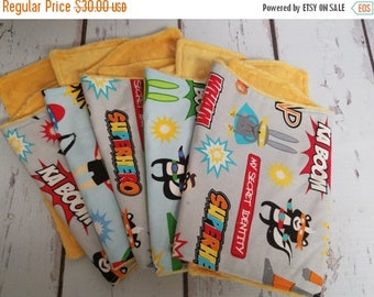 50% OFF Set of 5 superhero burp cloths with minky backing