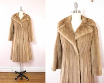 Vintage Mink Coat   1940s Pastel Mink Fur Coat   Full Length Mink Coat Size L