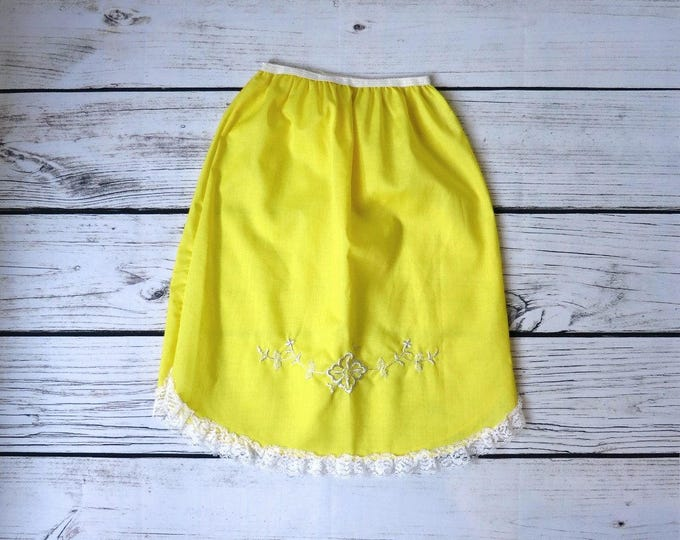 1960s Lemon Yellow Embroidered Half Slip XS Deadstock