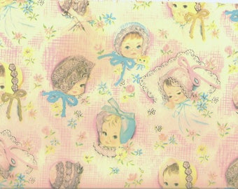 1950s vintage baby, little girl wrapping paper--tags, scrapbooking, paper ephemera, collage, card making