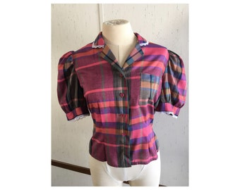 Darling Vintage Fitted Blouse Pink Plaid
