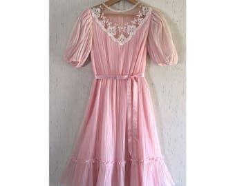 SALE Vintage BLUSH Pink Gauzy Sheer Lace Sundress
