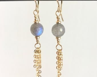 Labradorite and Gold Earrings