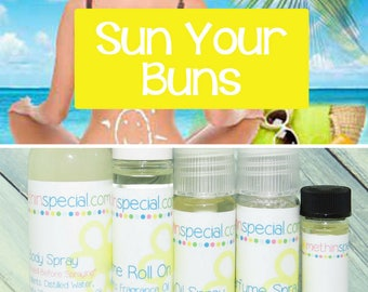 Sun Your Buns Perfume, Perfume Spray, Body Spray, Perfume Roll On, Perfume Sample Oil, Dry Oil Spray, You Pick the Product You Want