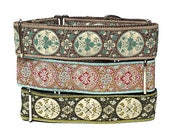 """martingale dog collar 1.5"""" wide, GUINEVERE in olive green, pinked teal or tan and teal, Safety Collar, Greyhound Collar, Sighthound Collar"""