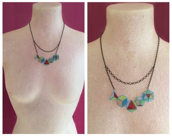 Small 5 Platonic Solids Necklace