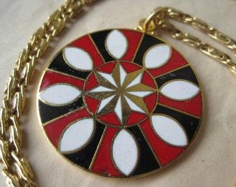 Flower Hex Necklace Black White Red Enamel Vintage Pendant Gold