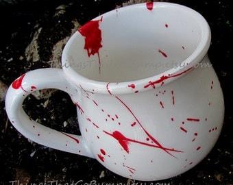 Custom pottery blood splatter mug large pottery mug kiln fired deep mugs red white horror fan zombie mug holds 16 ounces splattered mug