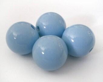14mm Blue Periwinkle acrylic round beads - 6pcs