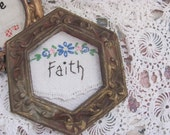 Primitive Stitchery Faith, On Vintage Linen Piece in Chic Ornate Gold Picture Frame