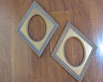 Two Diamond Shape Picture Frames...197o's Hard to Find