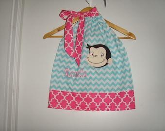 Dress Curious George Dress  Monogrammed aqua pink Chevron  pillowcase dress 3 6,12 18 month 2t,3t,4t 5t,6,7,8,10