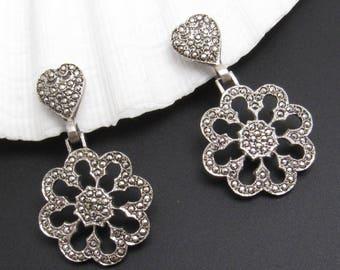 Sterling Marcasite Heart Earrings Flower Drops Forties Jewelry E7750