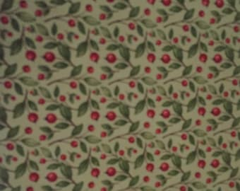 Fall Harvest Greetings 100% cotton fabric by the yard - Green leaf and berries Fall Harvest Thanksgiving Fabric