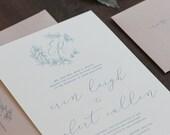 Crest Invitation, Modern Calligraphy Invitation, Monogram Invitation, French Blue Wedding Invitation, Hand Drawn Floral Invitation SAMPLE
