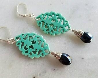 Ornate Scroll Earrings in Turquoise Blue, Black Onyx Dangles, Sterling Silver, Wire Wrapped, Boho Earrings, Bohemian Dangles, Under 50
