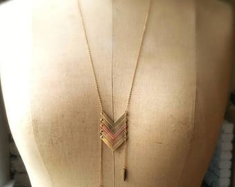 Chevron Long Pendant in Brass and Copper