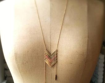 Chevron Long Pendant in Brass and Copper