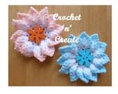 Folded Petal Flower Crochet Pattern (DOWNLOAD) CNC14