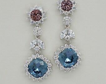 Navy Blue earrings, Swarovski crystal earrings,Navy blue bridal earrings, bridesmaid earrings, Antique Pink Earrings, Chandelier Earrings,