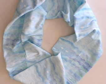Organic cotton infinity scarf blue watercolor waves