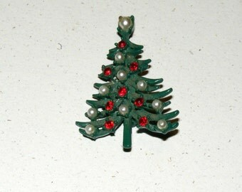 Vintage Enamel Christmas Tree Brooch Pin
