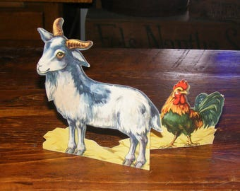 Vintage Die Cut Horned Billy Goat and Rooster Stand Up
