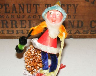 Vintage Mache and Chenille Gnome Elf on Skis with Lantern Japan