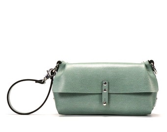 Mint Green Wristlet | Mint Green Wrist Bag | Mint Green Clutch | Vegan, Made in USA