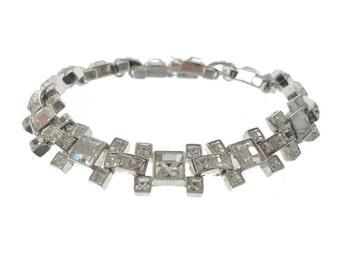 Vintage 1940s Rhinestone Bracelet, French Cut Crystal Link, Vintage Rhinestone Wedding Jewelry
