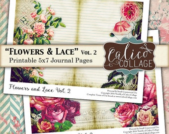 Flowers and Lace, Journal Pages, Collage Sheet, Printable, Junk Journal, Instant Download, Junk Journal Pages, Printable Ephemera