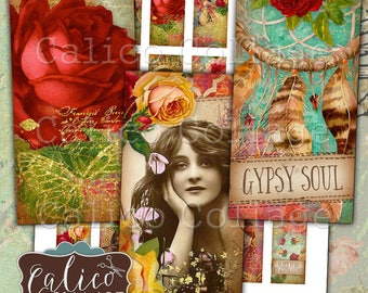 Gypsy Love, Domino Collage Sheet, Boho Collage Sheet, Digital, Collage Sheet, 1x2 Domino Collage, Bohemian Images, Collage Sheets