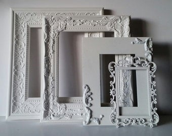 Shabby Chic Frame Set French Country Decor Ornate Romantic Cottage Open Picture Frame Set of 4 Vintage Inspired Wall Gallery Frames Baby