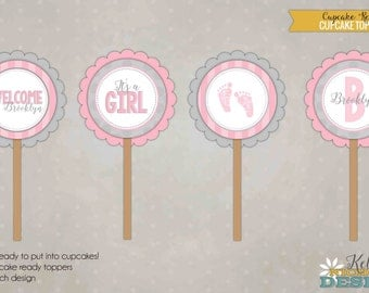 It's a Girl Baby Shower Cupcake Toppers, Baby Shower Decorations - Pink & Grey