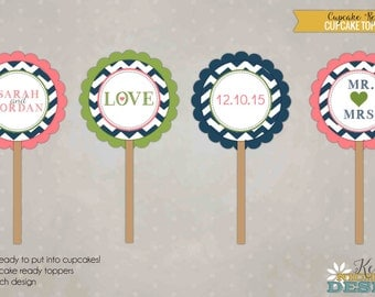 Custom Chevron Bridal Shower Cupcake Toppers, Wedding Shower Decorations - Coral, Green and Navy Blue #S112