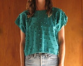 TEAL COTTON POM cropped blouse, m