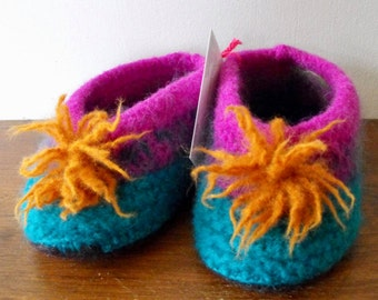 Wool Felted Hand Knit Slippers for Infants Kids Children Hand Knit