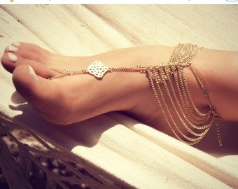 Anniversary SALE KATY ANKLET- gold chain foot anklet available in gold / Bohemian foot chain/ barefoot sandal / boho / body jewelry / foot c