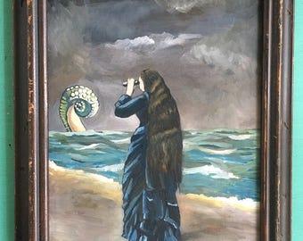 Kraken, Framed Steampunk Original Oil Painting