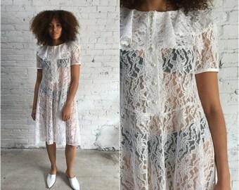 vintage white lace dress / vintage wedding dress / 90s babydoll dress / ruffle collar / 1990s grunge dress