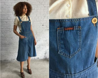 1970s Landlubber denim overall dress / aline skirt denim jumper / a line denim bib dress