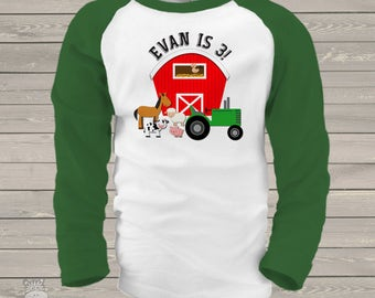 Farm birthday shirt with barn and tractor and animals - oh my - completely personalized RAGLAN shirt MBD-002-R