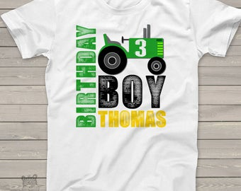 Birthday tractor shirt - personalized birthday boy tractor tshirt - great for farm themed birthday party MBD-009